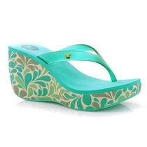 Hermosas Sandalias De Plataformas Color Turquesa Floreado