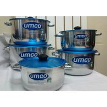 Umco Set De 5 Ollas De Aluminio Con Tapas Para Cocinas A Gas