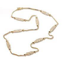 Collar Malla Cadena Tono Oro Rosa Con Cristales Austriacos
