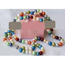 Moderno Collar De Perlas Naturales Multicolor 2 Filas