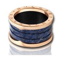 Anillo Unisex Zero Oro Rosa Y Marbel Azul Talla 7