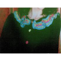 Blusa Negra Cuello De Colores Tejida A Mano