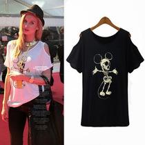 Blusa Camiseta Mujer Negra Mickey Mouse Esqueleto