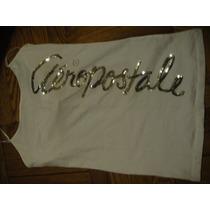 Camiseta Aeropostale Blanca Large Tiras Lentejuelas ( 876 )
