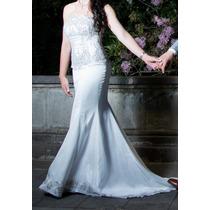 Vestido De Novia Blanco Corte Sirena Con Pedrería