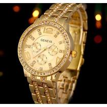 Reloj De Mujer Elegante Con Brillantes, En Gold, Silver