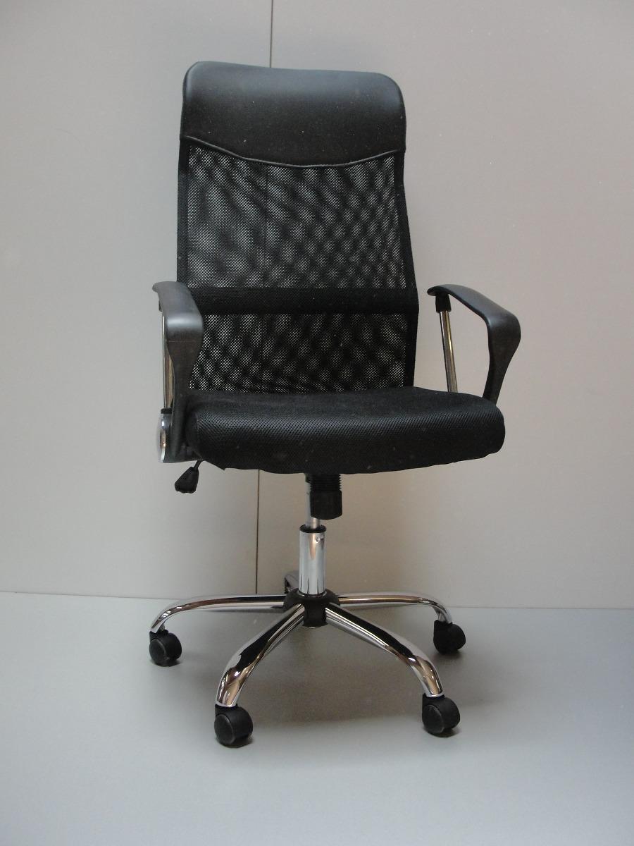 Silla de oficina ejecutiva gerencial cromada negra for Sillas para trabajar